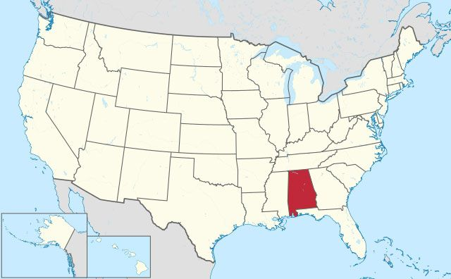 map of Alabama state in USA