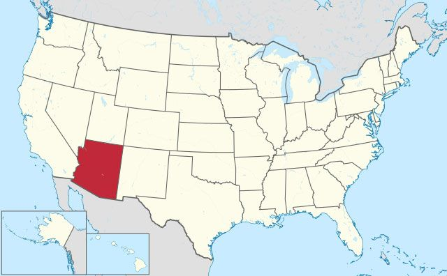 map of Arizona state in USA