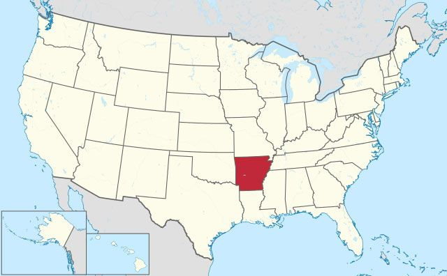 map of Arkansas state in USA
