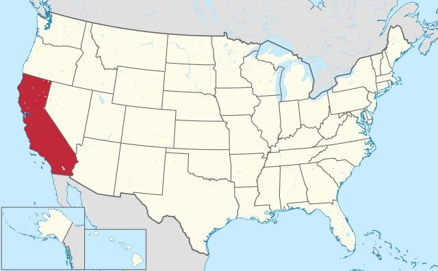 map of California state in USA
