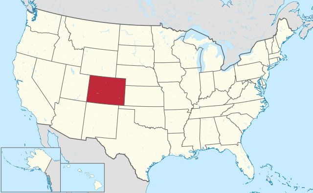 state of Colorado map, USA