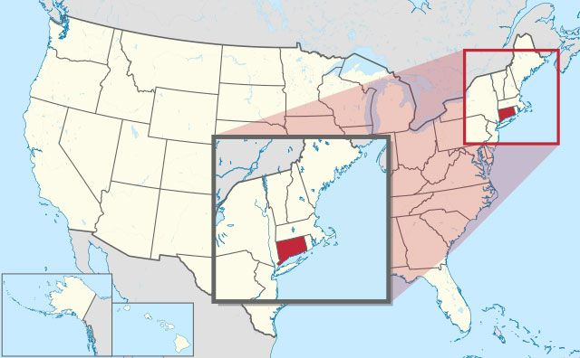 state of Connecticut map, USA