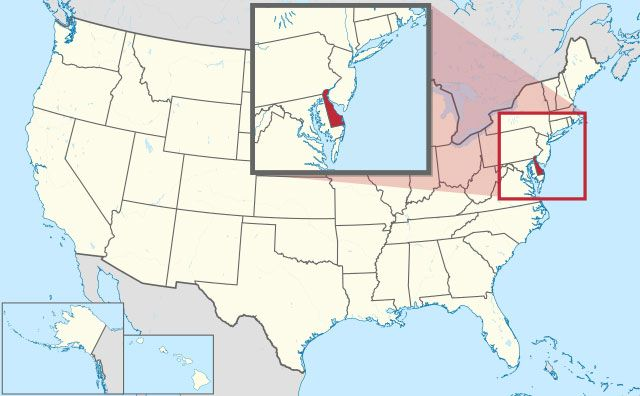 map of Delaware state in USA