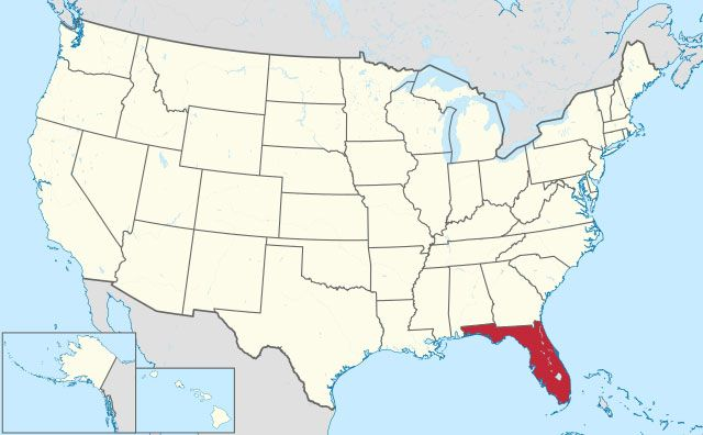 map of Florida state in USA