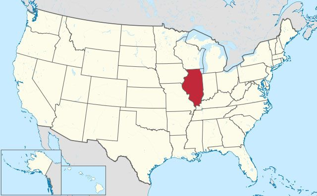 map of Illinois state in USA