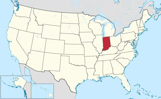 map of Indiana state in USA
