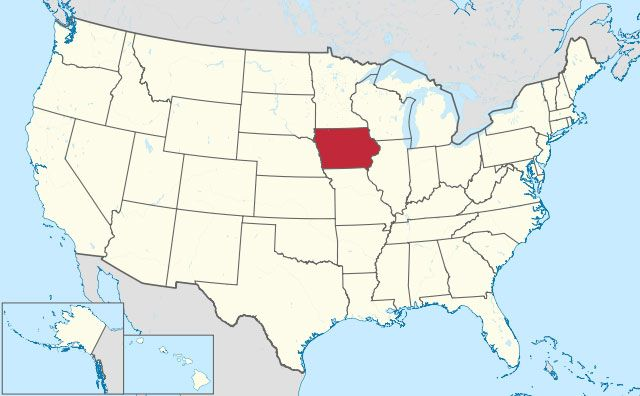 map of Iowa state in USA