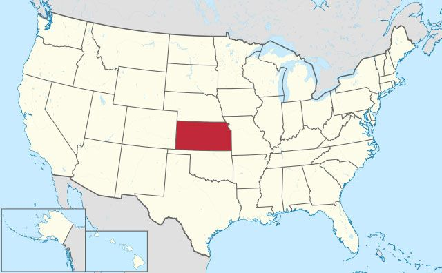 state of Kansas map, USA
