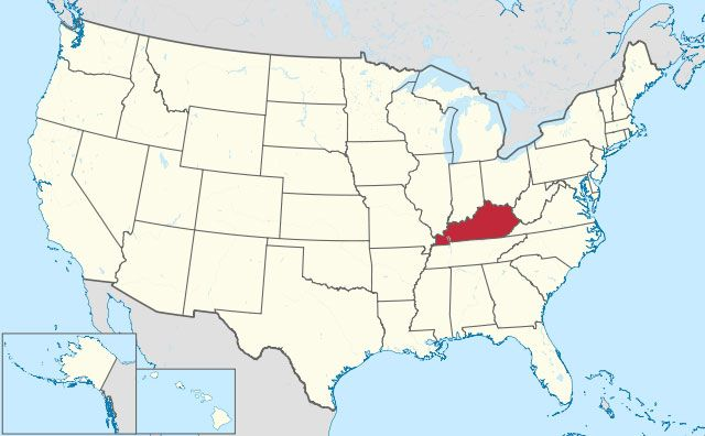 map of Kentucky state in USA