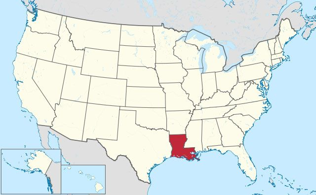 map of Louisiana state in USA