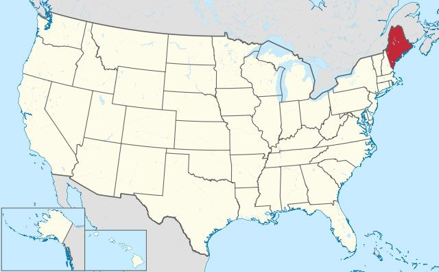 map of Maine state in USA