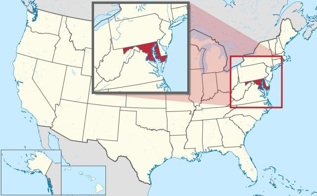 map of Maryland state in USA