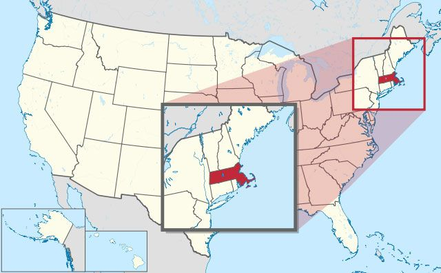state of Massachusetts map, USA