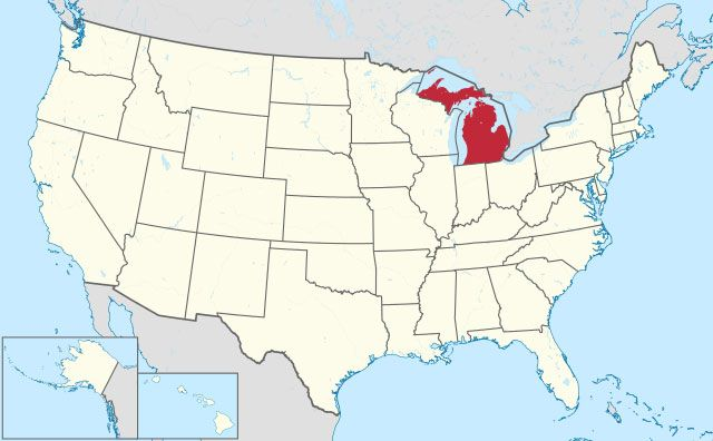 map of Michigan state in USA