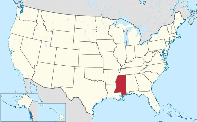 map of Mississippi state in USA