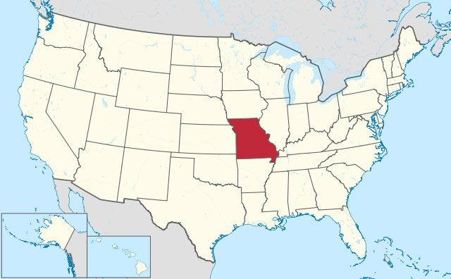 map of Missouri state in USA