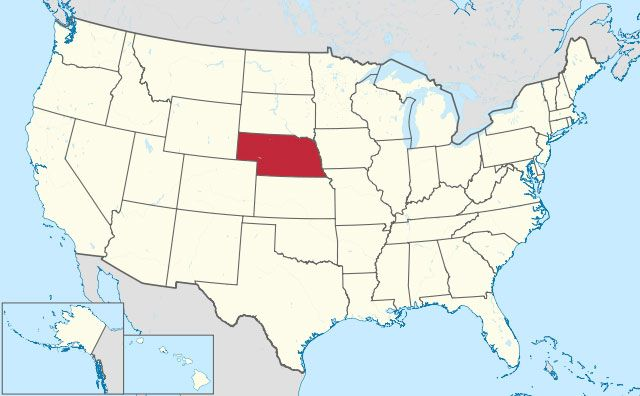 map of Nebraska state in USA