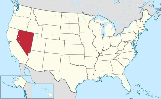 map of Nevada state in USA