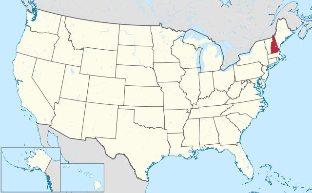 map of New Hampshire state in USA