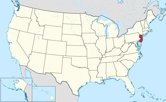 map of New Jersey state in USA