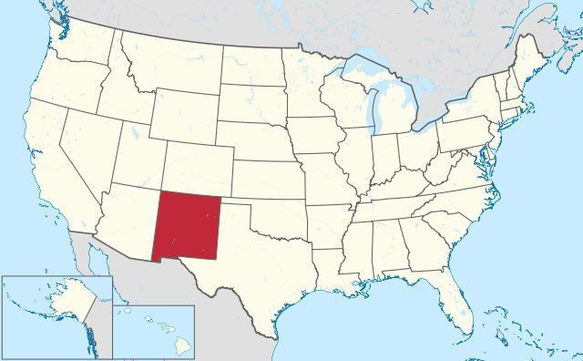 state of New Mexico map, USA