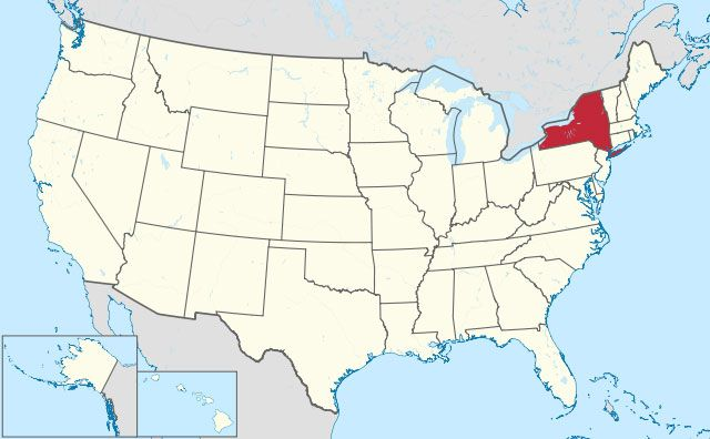 map of New York state in USA