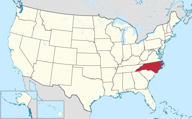 map of North Carolina state in USA