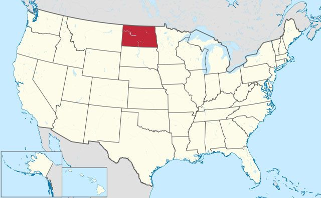 map of North Dakota state in USA