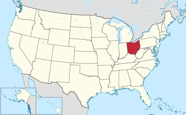 map of Ohio state in USA