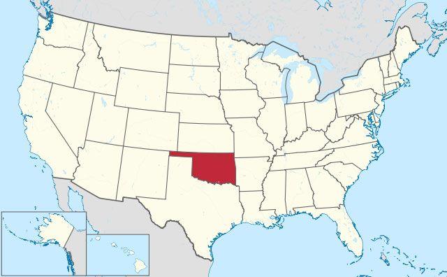 state of Oklahoma map, USA
