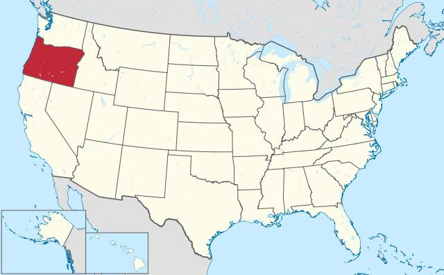 map of Oregon state in USA