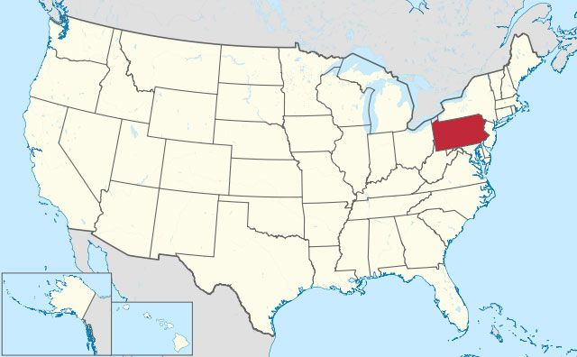 map of Pennsylvania state in USA