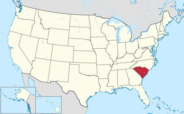 map of South Carolina state in USA