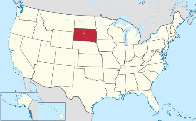 state of South Dakota map, USA