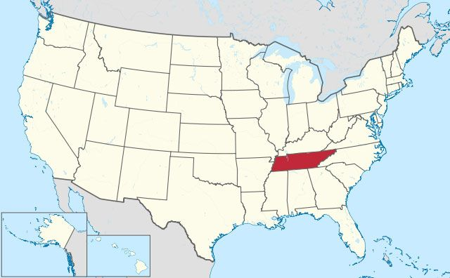 map of Tennessee state in USA