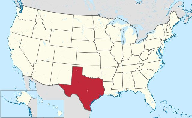 map of Texas state in USA