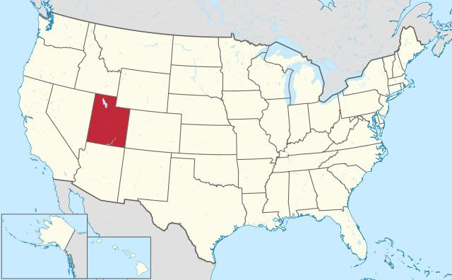 map of Utah state in USA