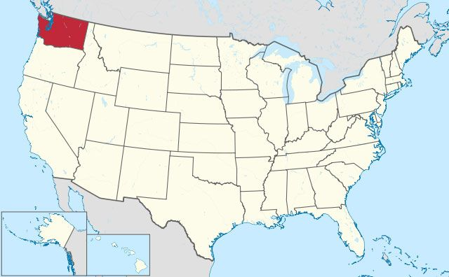 map of Washington state in USA
