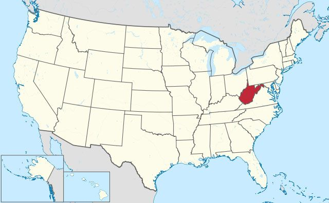 map of West Virginia state in USA