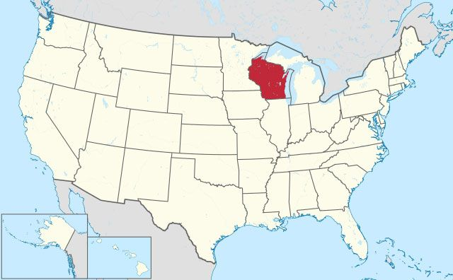 map of Wisconsin state in USA