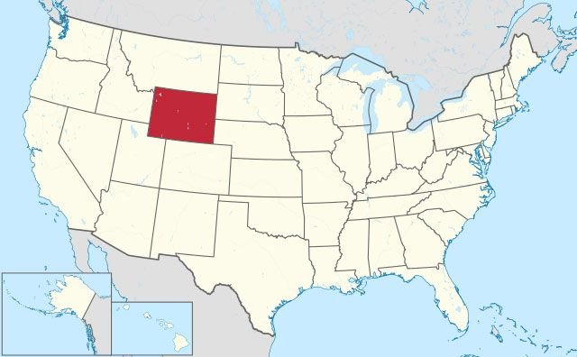 state of Wyoming map, USA